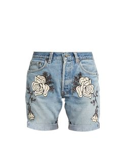 BLISS AND MISCHIEF | Shadow Flower-Embroidered Denim Shorts