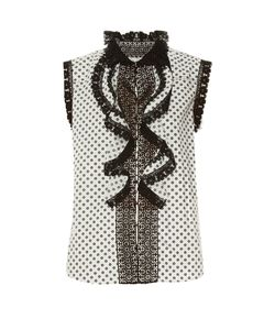 Oscar de la Renta | Daisy-Print Lace-Trimmed Top