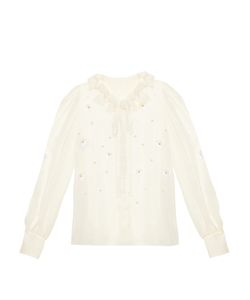 Dolce & Gabbana | Margherite-Embroidered Silk-Chiffon Blouse