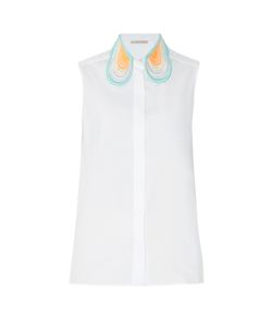 Christopher Kane | Lace-Collar Sleeveless Cotton Shirt