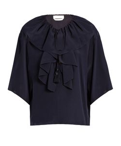 Chloe | Ruffle-Trimmed Crepe De Chine Top