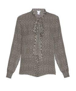 Oscar de la Renta | Tie-Neck Zig-Zag Print Silk Shirt