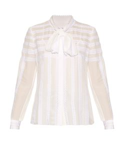 Oscar de la Renta | Long-Sleeved Lace-Trimmed Silk Blouse