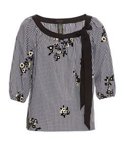 Marc Jacobs | Flocked Cotton-Gingham Peasant Blouse