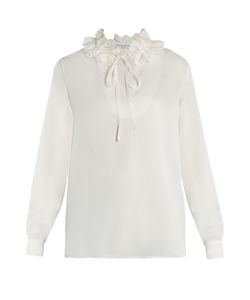 Sonia Rykiel | Ruffled-Neck Long-Sleeved Crepe-Satin Blouse