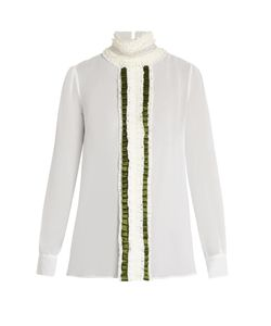 Preen By Thornton Bregazzi | Ella Ruffle-Collar Silk-Georgette Blouse