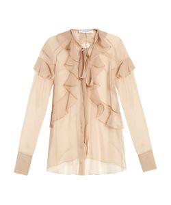 Givenchy | Silk-Chiffon Ruffled Neck-Tie Blouse
