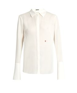 Alexander McQueen | Logo-Embroidered Silk-Georgette Blouse