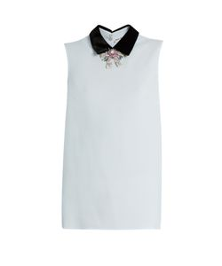 Miu Miu | Sleeveless Crystal-Embellished Crepe Blouse