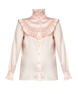 Saint Laurent | Ruffle-Trimmed Silk-Satin Blouse