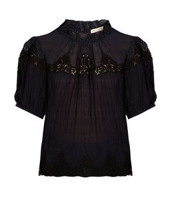Rebecca Taylor | Macramé-Lace Panelled Silk Blouse