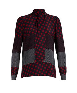 Red Valentino | Polka-Dot Print Silk-Crepe Blouse