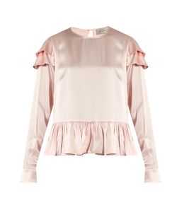 Preen By Thornton Bregazzi | Cherry Ruffle-Trimmed Silk Blouse