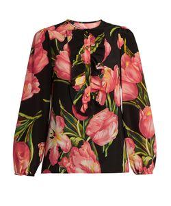 Dolce & Gabbana | Tulip-Print Silk Crepe De Chine Blouse