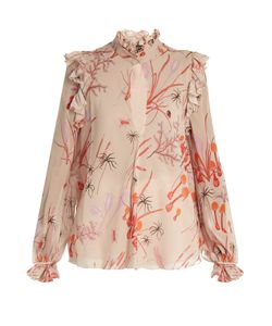 Giambattista Valli | Ruffled Mushroom-Print Silk-Georgette Blouse