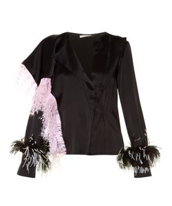 Christopher Kane | Feather-Embellished Satin Blouse