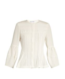 Oscar de la Renta | Pintucked Lace-Trimmed Silk-Habotai Blouse