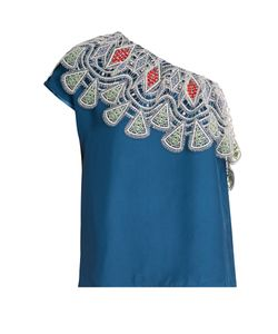 Peter Pilotto | One-Shoulder Embroidered-Lace Crepe Top