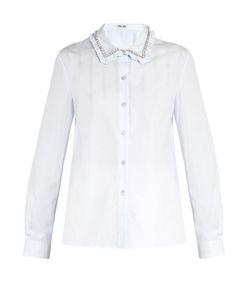 Miu Miu | Embellished-Collar Cotton-Poplin Shirt