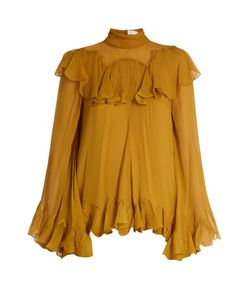 Chloe | High-Neck Silk-Crepon Ruffle Blouse