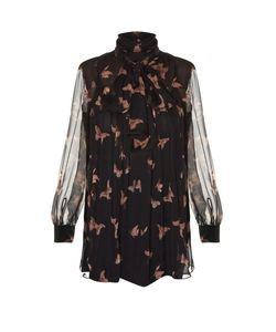 Alexander McQueen | High-Neck Moth-Print Silk-Crepon Blouse