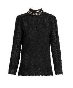 Rebecca Taylor | Embellished-Collar Lace Blouse