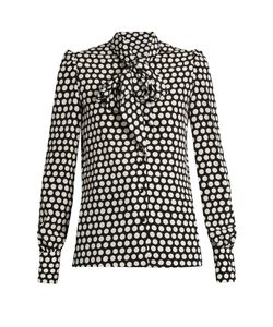 Saint Laurent | Pussybow-Neck Silk Crepe De Chine Blouse