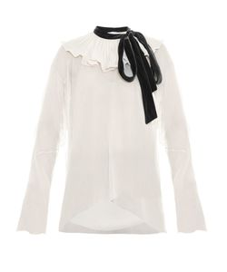 Chloe | Velvet-Tie Ruffled-Neck Crepon Blouse