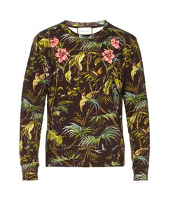 Gucci | Tropical-Print Appliqué Cotton Sweatshirt