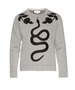 Gucci | Snake-Appliqué Cotton-Jersey Sweatshirt