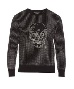 Alexander McQueen | Embroidered-Skull Long-Sleeved Sweatshirt