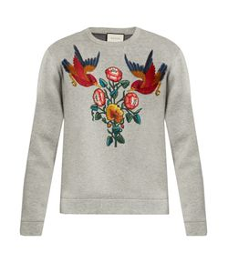 Gucci | Bird And Flower-Appliqué Cotton Sweatshirt