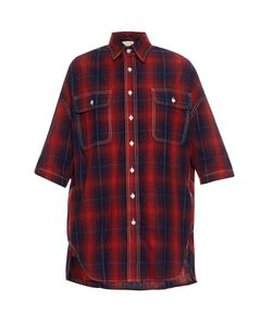 R13   X-Oversized Cotton And Linen-Blend Plaid Shirt