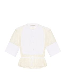 PALMER/HARDING | Collarless Waist-Tie Sheer Shirt