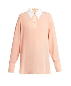 Stella Mccartney | Contrast Collar Silk-Crepe Blouse