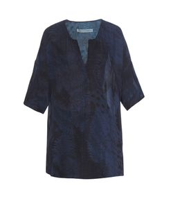 Raquel Allegra | Fern-Print Silk-Georgette Top