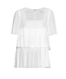 Sonia Rykiel | Square-Neck Pleated-Cotton Top