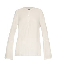 Raquel Allegra | Frayed-Edge Crepe Collarless Blouse