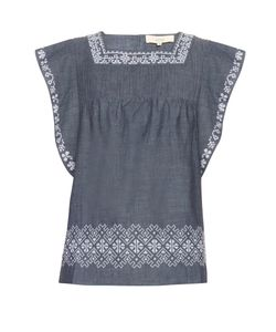 Vanessa Bruno Athe' | Elba Embroidered Cotton Top