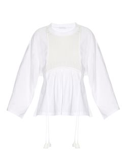 Chloe | Silk-Panel Cotton-Jersey Top