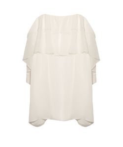 Chloe | Ruffle Lace-Trimmed Silk-Crépon Top