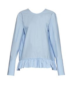 Marni | Ruffled-Hem Long-Sleeved Cotton Top