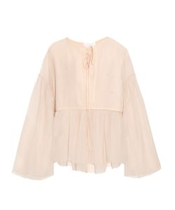 Chloe | Tie-Neck Cotton And Silk-Blend Crepon Top