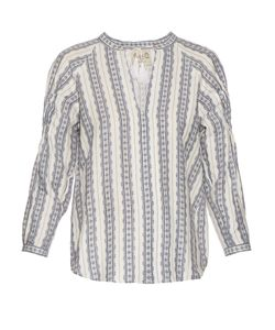 Sea | Striped Linen Long-Sleeved Top
