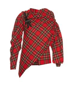 A.W.A.K.E. | Highlander Asymmetric Wool-Blend Tartan Blouse