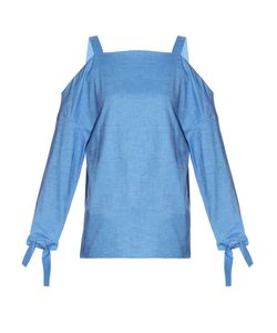 Tibi | Cold-Shoulder Cotton-Denim Top