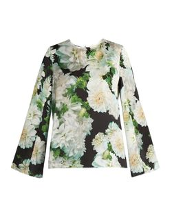 Adam Lippes | Long-Sleeved Print Satin Top