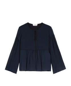 Chloe | Gathered-Seam Cotton And Silk-Blend Top