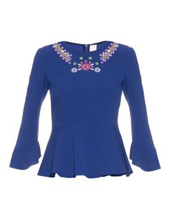 Peter Pilotto | Geometric-Embroidered Fluted-Hem Top