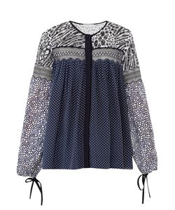 Chloe | Contrast-Print Lace-Panel Georgette Top